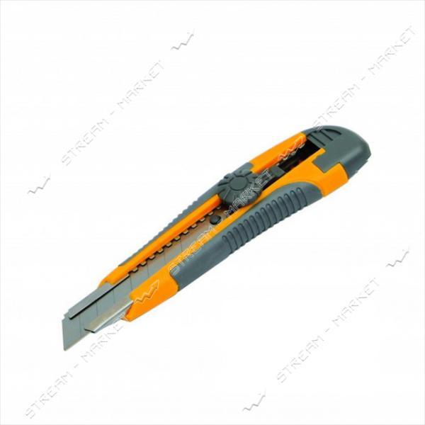 Нож MASTERTOOL 17-0118 18мм с метал. направляющей, винтовой замок 2 лезвия
