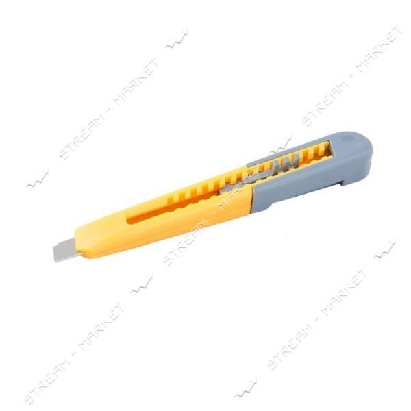 Нож MASTERTOOL 17-0320 9мм пластиковый, кнопочный фиксатор, зажим для кармана
