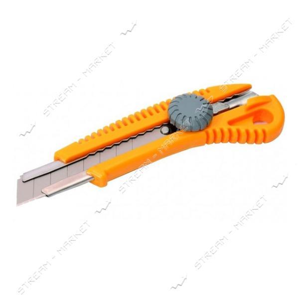 Нож MASTERTOOL 17-0328 18мм пластиковый с метал. направляющей, винт. замок