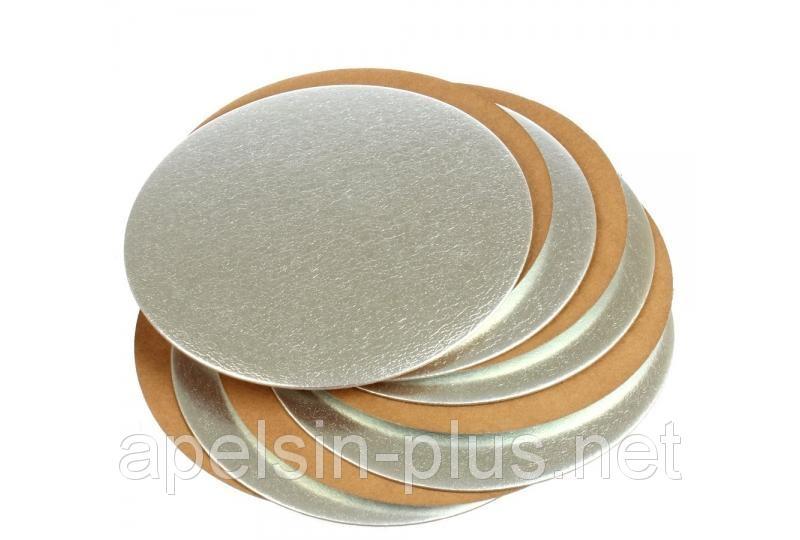 Фото Подложки,коробки,салфетки и бумажные формы для тортов,кексов и пряников Подложка кондитерская 28 см золото-серебро двухслойная