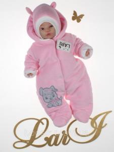 Демисезонный комбинезон для новорожденных розовый