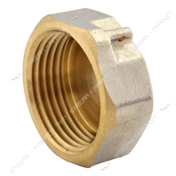 Заглушка N08764.03 латунь 3/4'В под пломбу никелированная (штамповка)