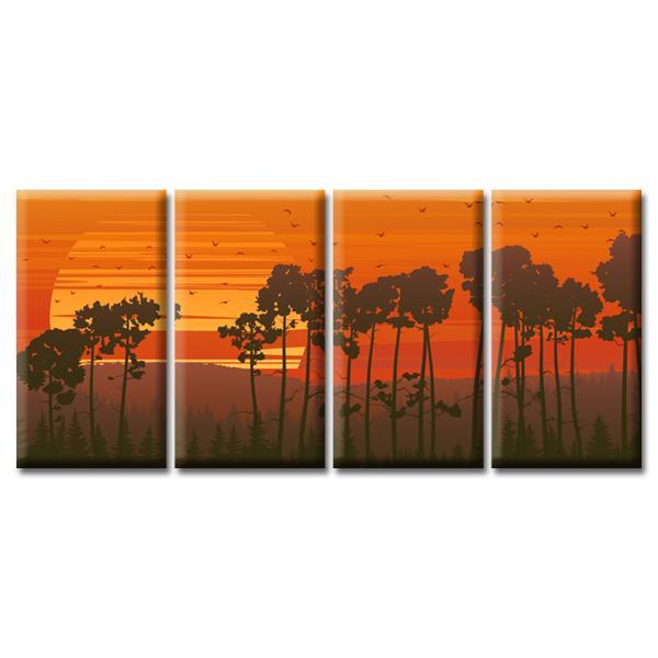 Модульная Картина Glozis Sunset D-055 70 х 35 см х 4 Картины