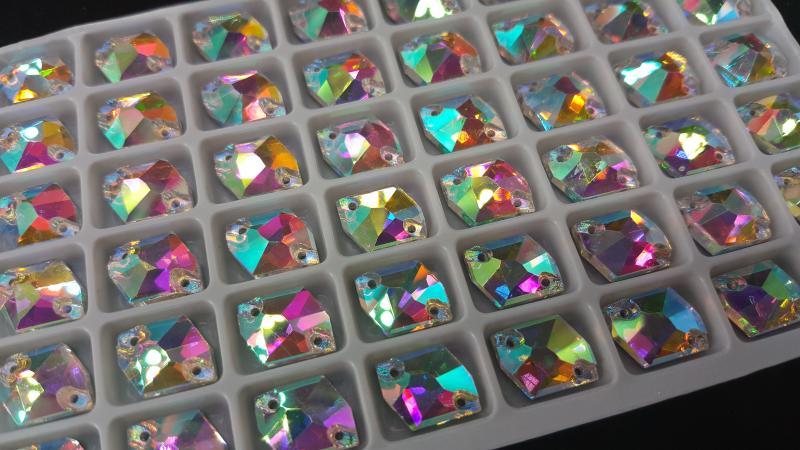 Ломанный ромб Crystal AB 8*12 мм.