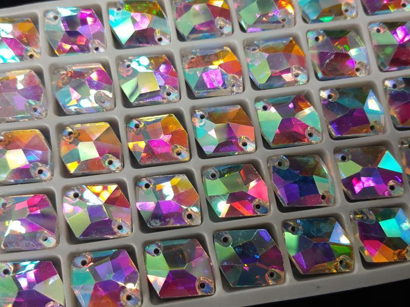 Ломанный ромб Crystal AB 11*14 мм.