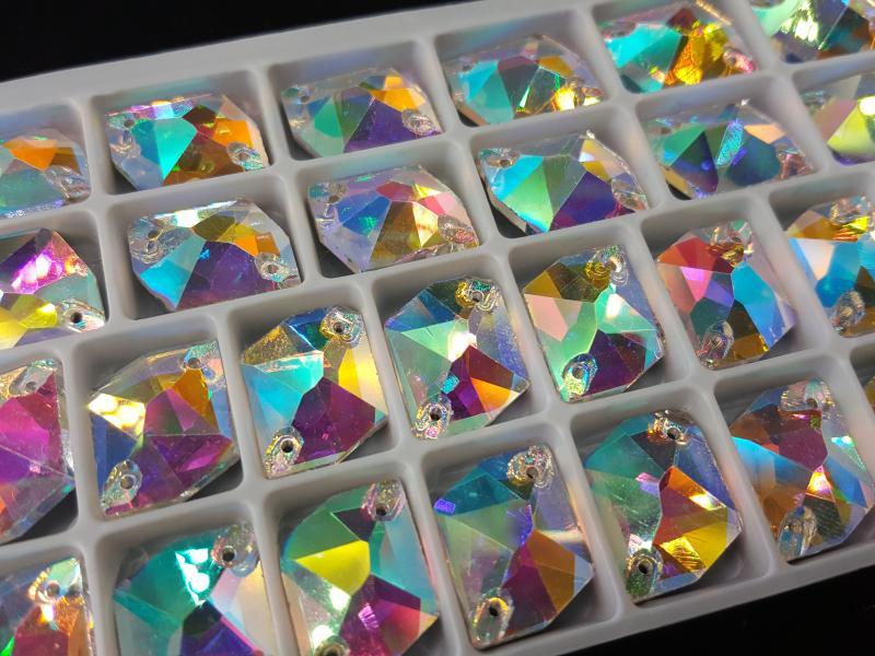 Ломанный ромб Crystal AB 13*17 мм.