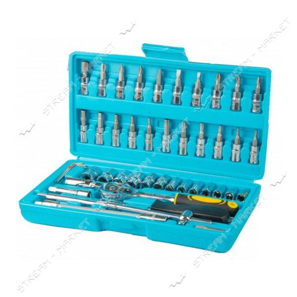 Набор насадок торцевых MASTERTOOL 78-6046 CrV 1/4 с трещеткой 24 зуба в кейсе 46шт