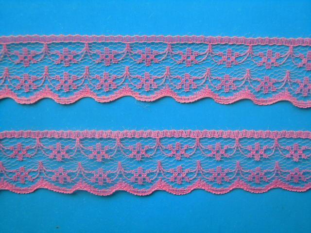 Фото Кружево ,тесьма ,сетка,резинка, Кружево капрон,жаккард,макраме Кружево  22 мм.  Розового  цвета