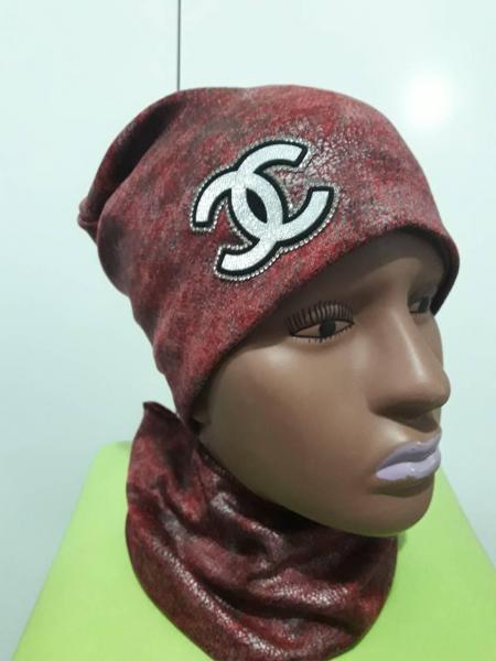 Набор для девочки шапка и хомут шанель бордовый