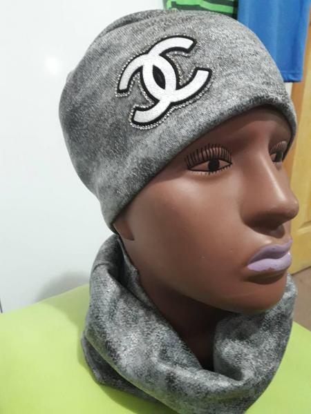Набор для девочки шапка и хомут шанель серый