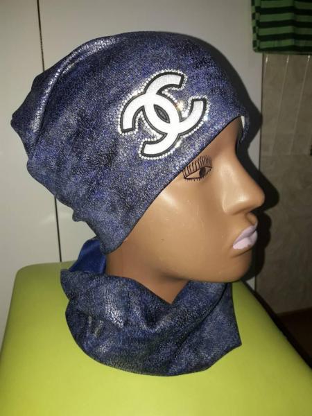 Набор для девочки шапка и хомут шанель синий