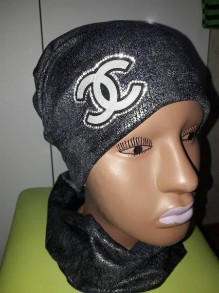 Набор для девочки шапка и хомут шанель темно-серый