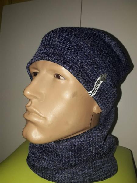 Набор на мальчика шапка и хомут синий