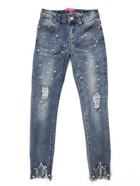 Модные джинсы с жемчугом на девочку подростка