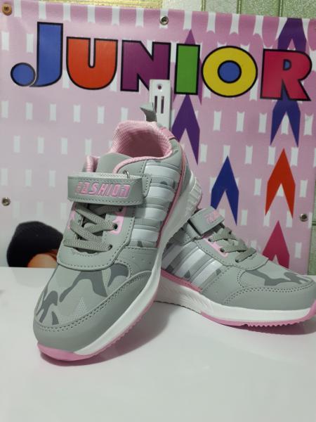 Серо- Розовые кроссовки на девочку 32