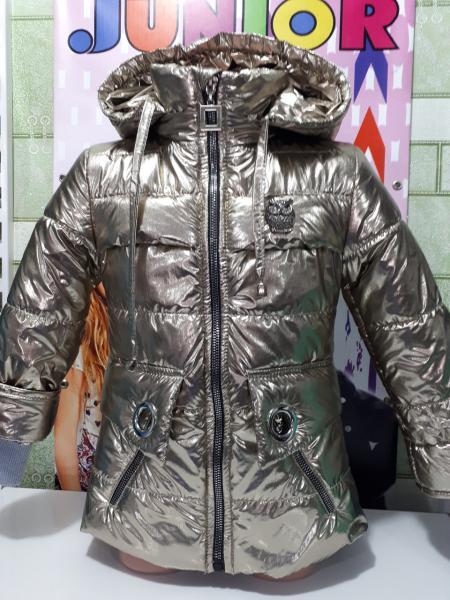 Куртка на девочку серебро с пайетками Хит 2018 года 104