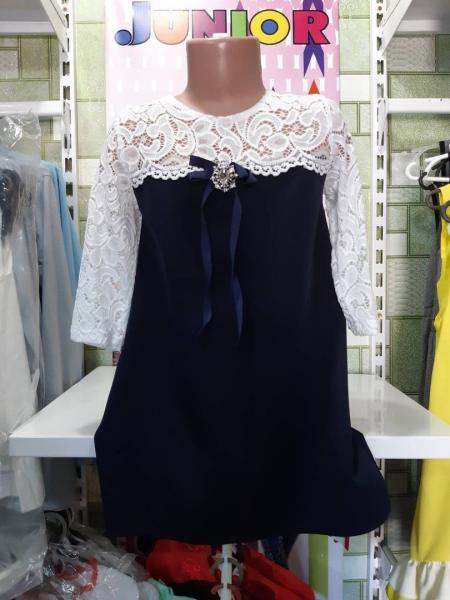 Школьное кружевное платье 146