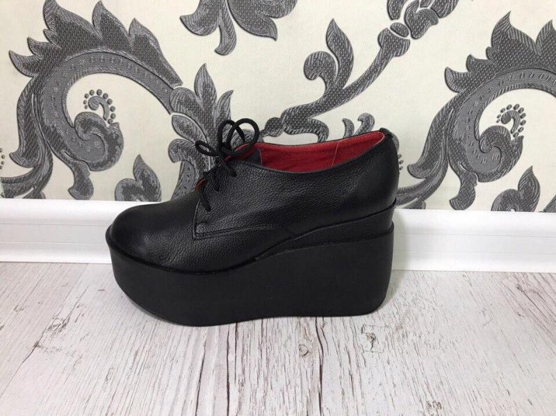 Туфли на платформе черный, кожа, 40