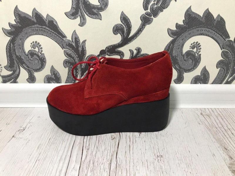 Туфли на платформе красный, замш, 37