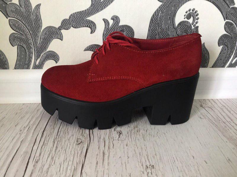 Ботинки на каблуке красный, 36