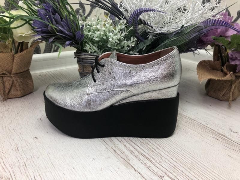 Кожаные ботинки 2018 серебро