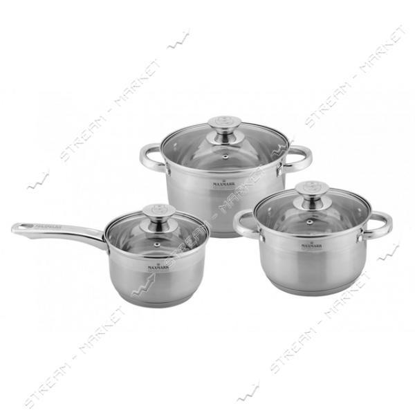 Maxmark набор посуды MK-3506D (2кастрюли, 1ковш крышки)