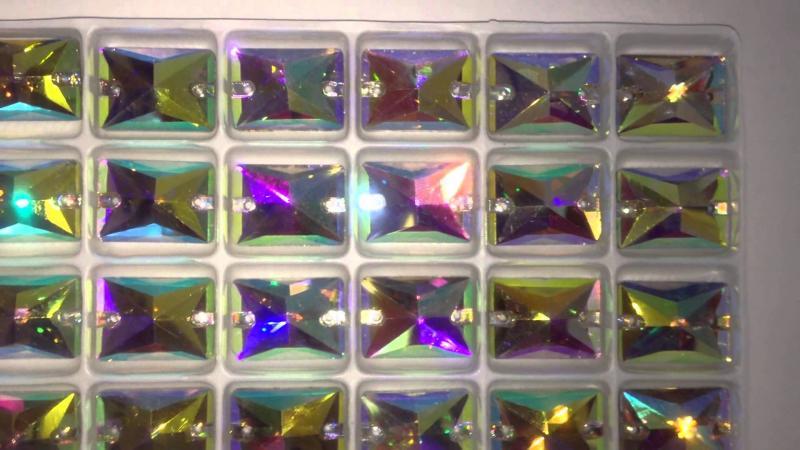 Фото Пришивные стразы Crystal Rhinesones , Прямоугольники Прямоугольник Crystal AB 10*14