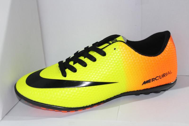 Футбольные кроссовки(копы) Nike Mercurial сороконожки синие на шнуровке для игры в футбол на шнурке 40-45, Желто-оранжевый