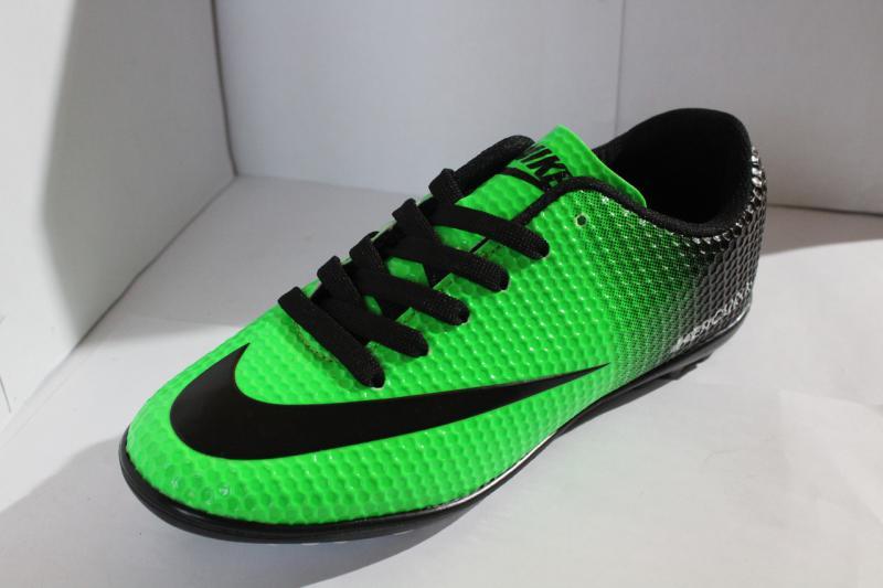 Футбольные кроссовки(копы) Nike Mercurial сороконожки синие на шнуровке для игры в футбол на шнурке 36