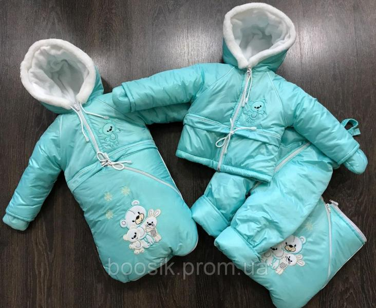 Зимний костюм-тройка ментоловый