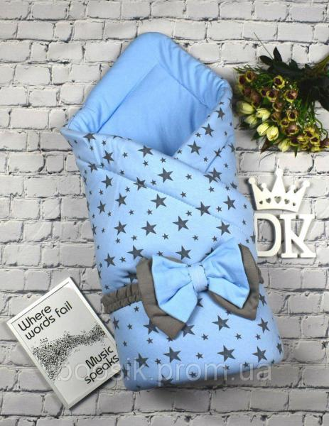 "Конверт-одеяло на выписку ""Звездопад"" бел/роз/гол/ментол голубой"