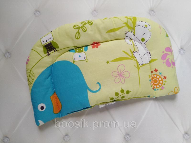 Подушка фигурная детская в коляску, кроватку от 0 мес. голубая/бежевая