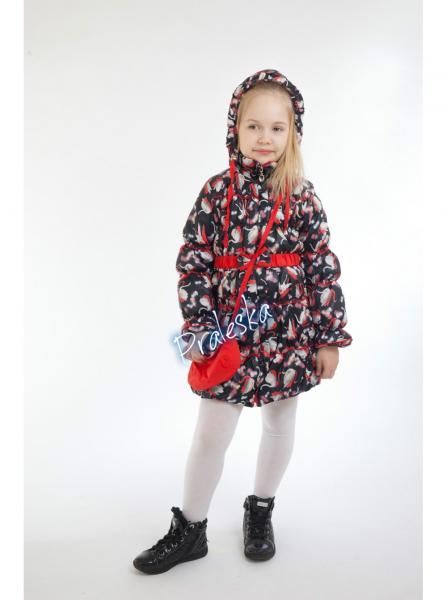 """Пальто для девочки """"Лебеди"""" 523311"""