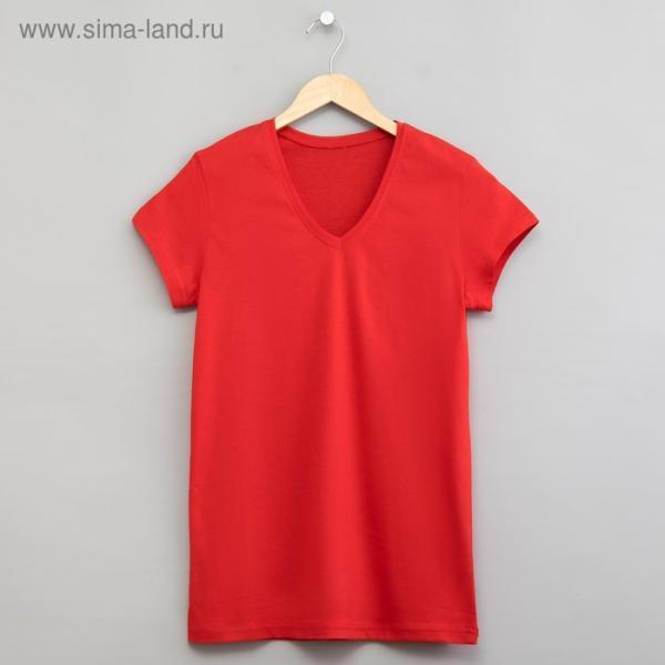 Футболка однотонная женская цвет красный, р-р 48 (L)