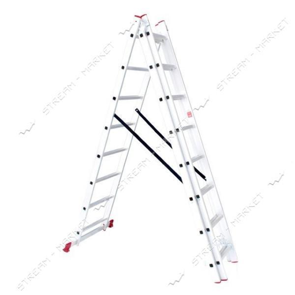 Лестница INTERTOOL LT-0308 алюминиевая 3-х секционная универсальная раскладная 3*8ступ. 5.09м