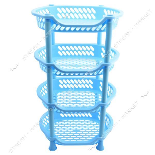 Этажерка пластиковая для ванны и кухни 4 яруса голубая