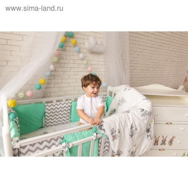 """Комплект в кроватку """"Зайка"""", 6 предметов, бязь, сатин"""