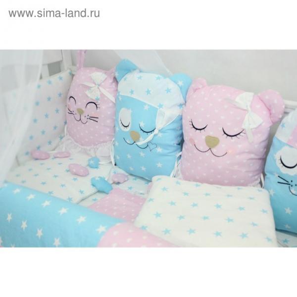 """Комплект в кроватку с игрушками """"Друзья"""", бязь, розово-голубой"""