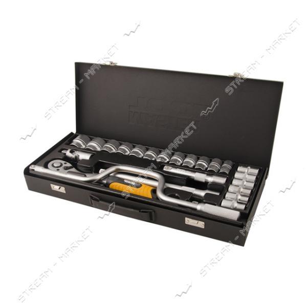 Набор насадок торцевых и ключей MASTERTOOL 78-4125 CrV 1/2 с трещеткой 72 зуба в метал. кейсе 24шт
