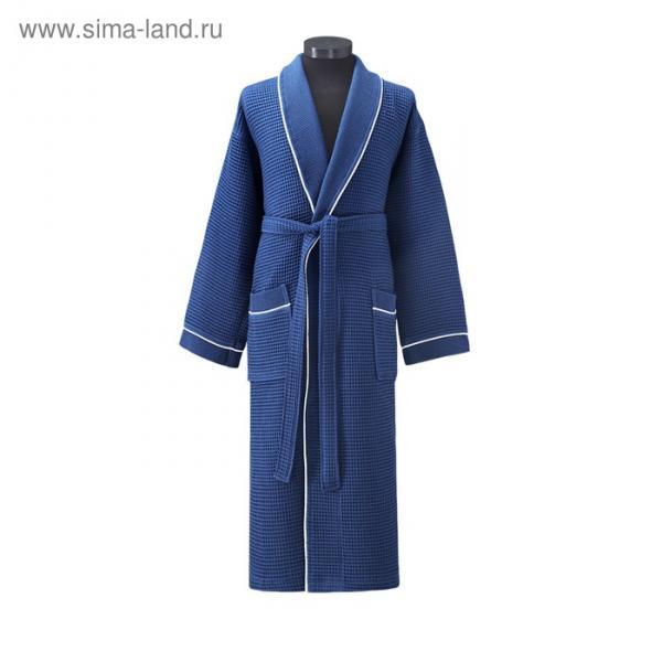 Халат вафельный Aleron, размер L (48), синий, 240 г/м2