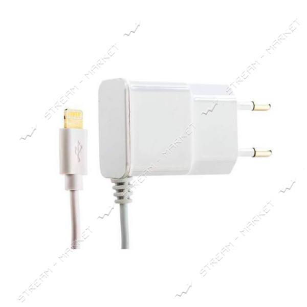 Сетевое зарядное устройство Aspor А801 5V/1A с цельным Lightning кабелем белый