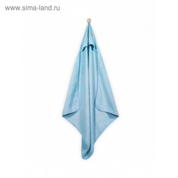 Полотенце с капюшоном, размер 75х75 см, цвет голубой