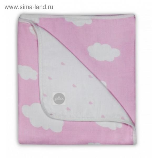 Одеяло муслиновое, размер 120х120 см, розовые облака