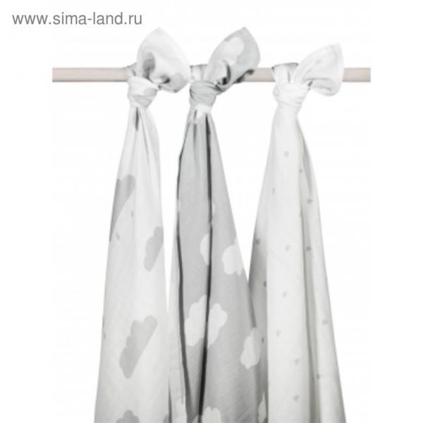 Комплект муслиновых пелёнок, размер 115х115 см-3 шт, серые облака