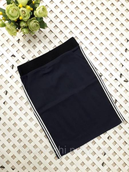 Стильная юбка для девочки, черная с люрексовыми лампасами, 10-12 лет 12
