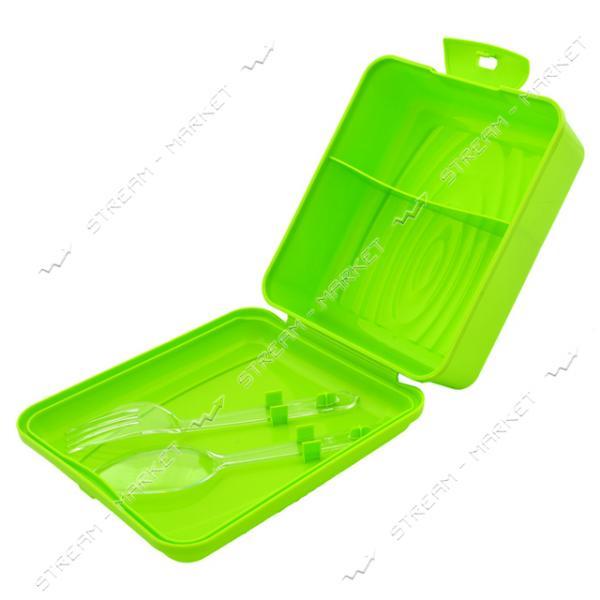 Контейнер 'Ланчбокс' вилка, ложка в комплекте 0, 9л зеленый