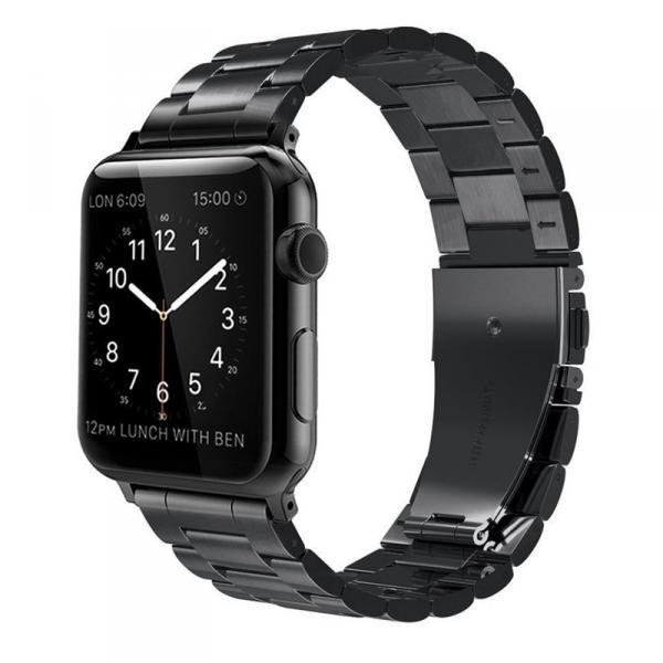 Браслет для Apple Watch черного цвета, 42 мм литой, качественный