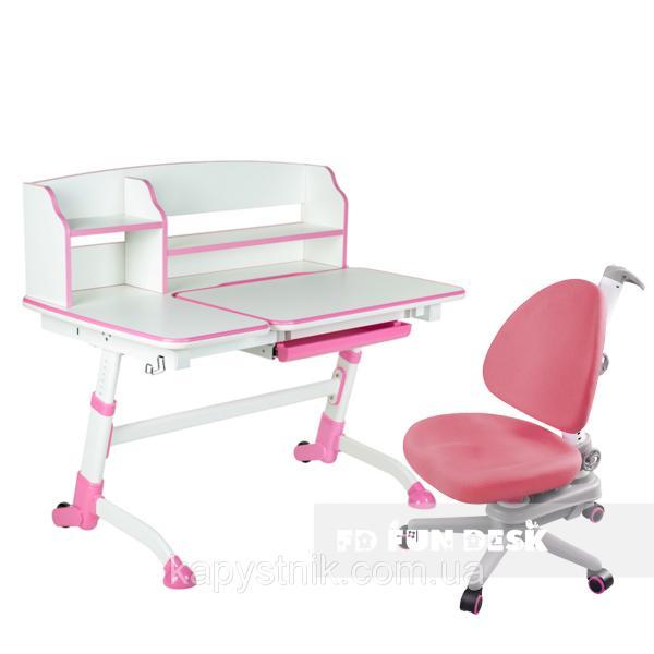 Комплект подростковая парта для школы Amare II Pink + ортопедическое кресло SST10 Pink FunDesk