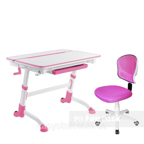 Комплект растущая парта Volare Pink + детский стул LST6 Pink FunDesk