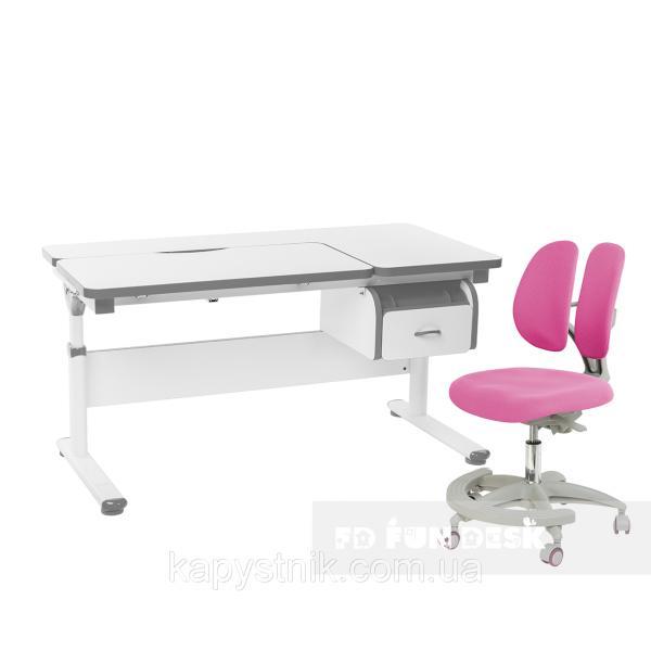 Комплект парта Creare Grey с ящиком + детское ортопедическое кресло Primo Pink FunDesk
